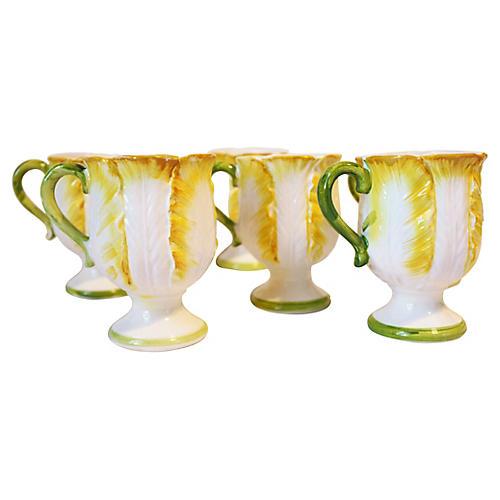 Majolica Cabbage Leaf Mugs, S/6
