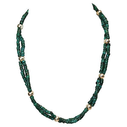 Malachite & Silvertone Bead Necklace