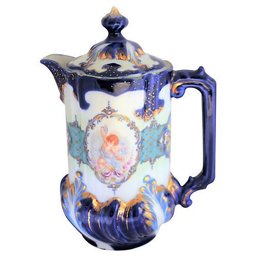Antique Blue & Gold Chocolate Pot