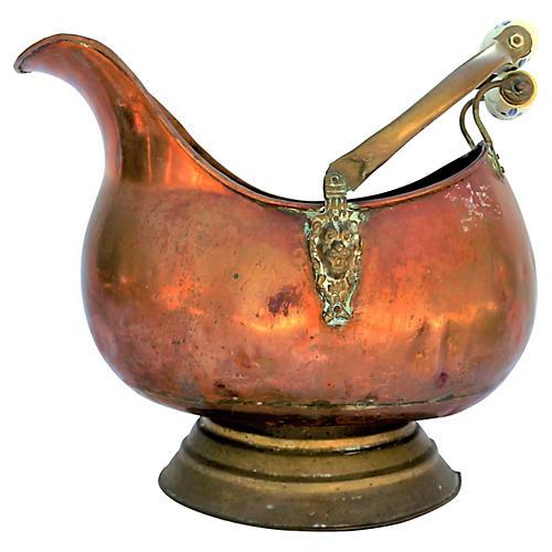 Dutch Copper and Brass Coal Scuttle Pail