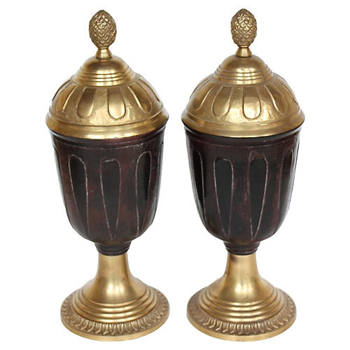 Brass Covered Urns, S/2