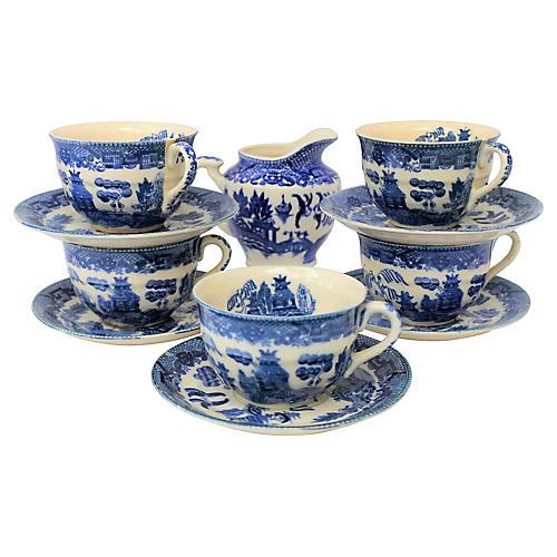 Blue Willow Tea Set, 11 Pcs
