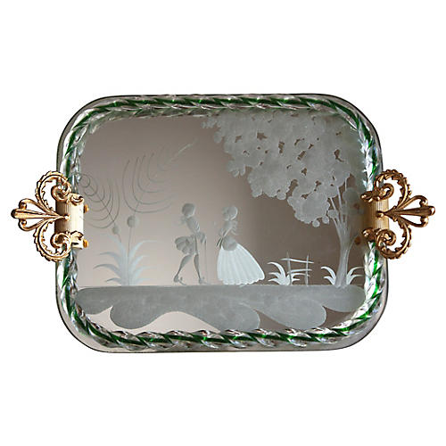Murano Etched Vanity Tray