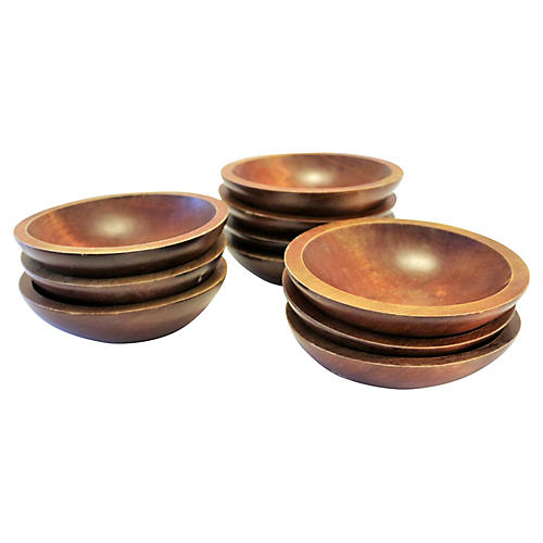 Midcentury Wood Serving Bowls, S/10