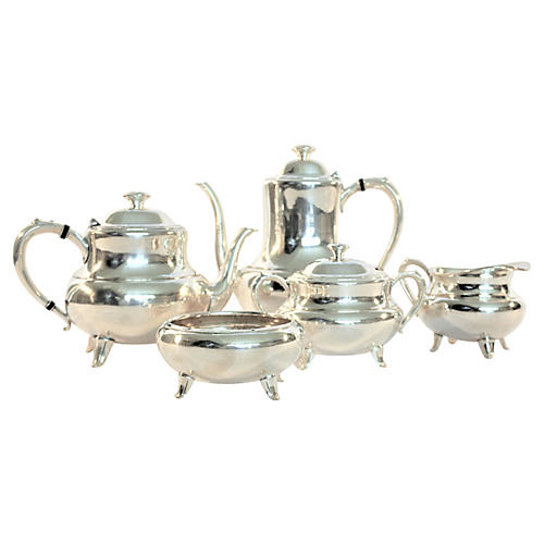 Silver-Plate Tea & Coffee Set, 6 Pcs