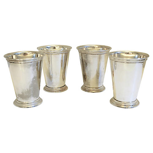 Weathered Silver Plate Mint Julep Cups