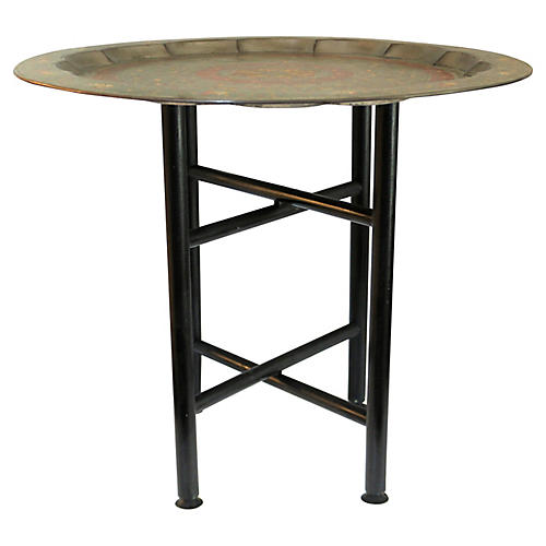 Hand-Painted Brass Tray Table