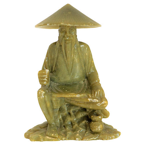 Jade Carved Asian Man in Conical hat