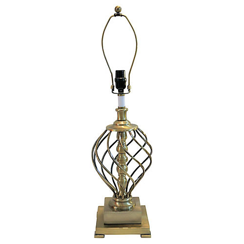 Brushed Brass Swirl Table Lamp