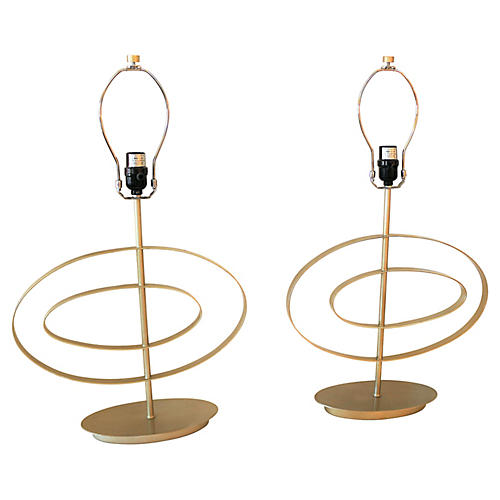 Pair of Gold Swirl Lamps S/2