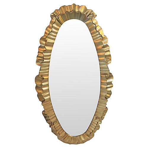 Large Gold Ruffle Framed Mirror