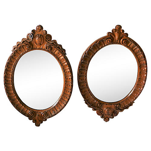 Antique Hand-Carved Mirrors, S/2