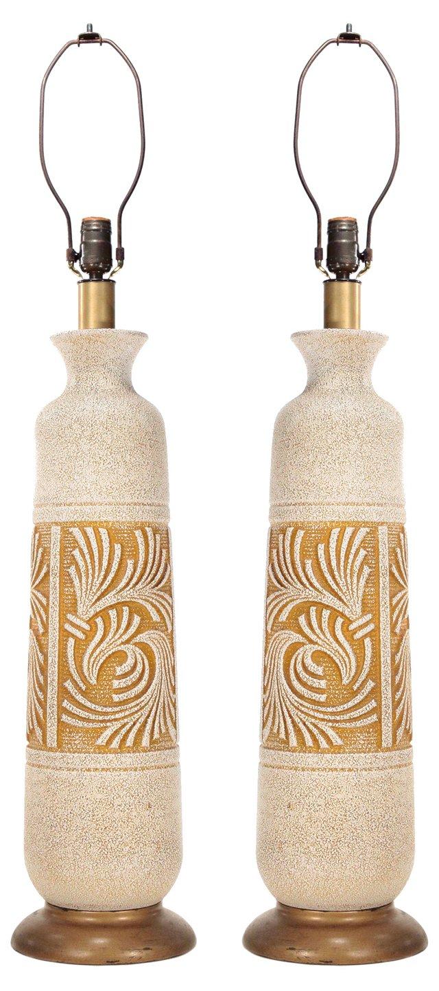 Cream & Tan Ceramic Lamps, Pair