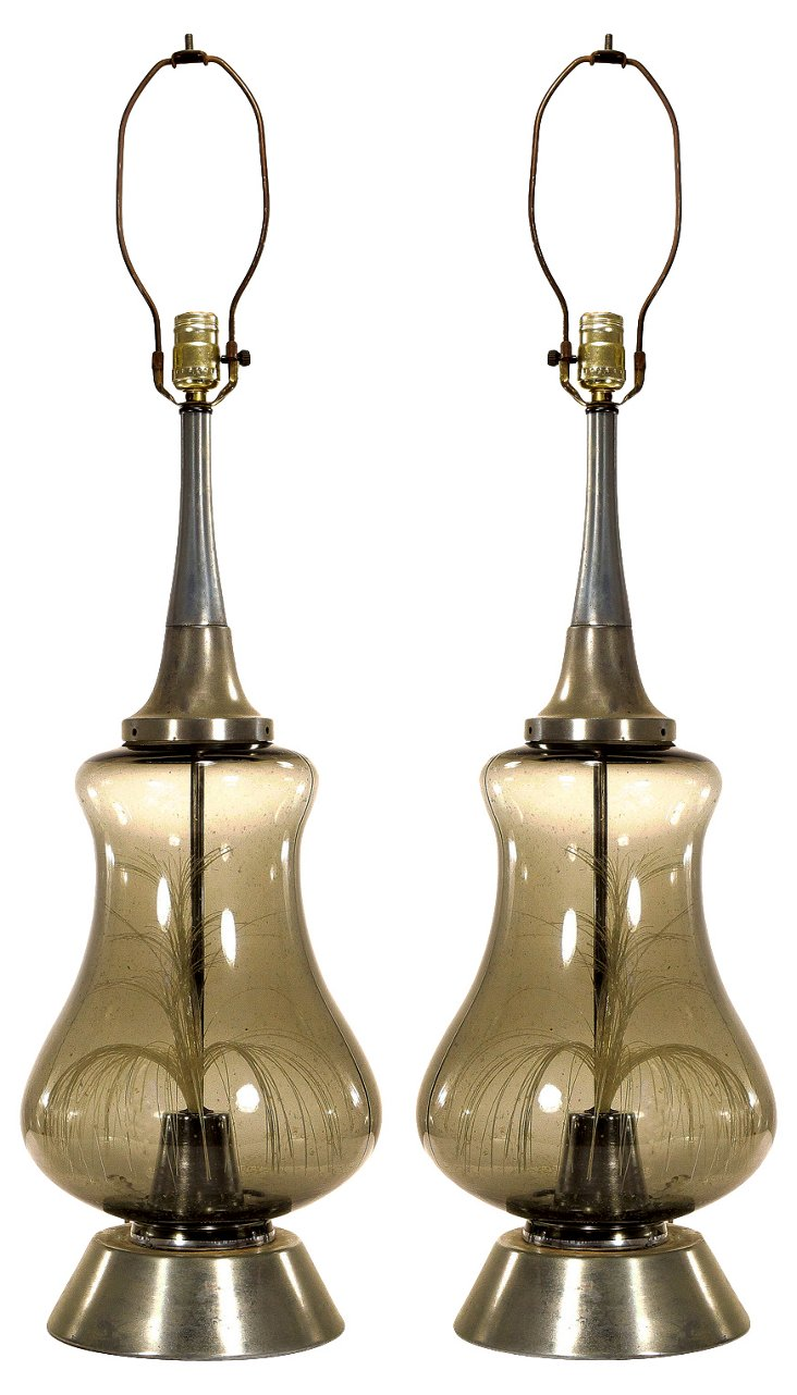 1970s Fiber Optic Thread Lamps, Pair