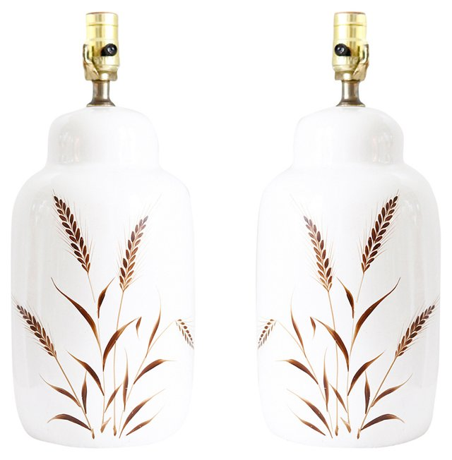 Hand-Painted Wheat Lamps, Pair