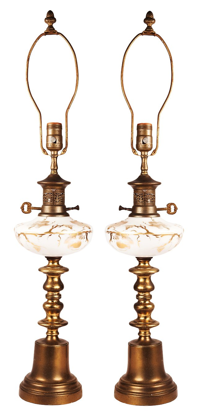 1940s Hand-Painted Glass Lamps, Pair