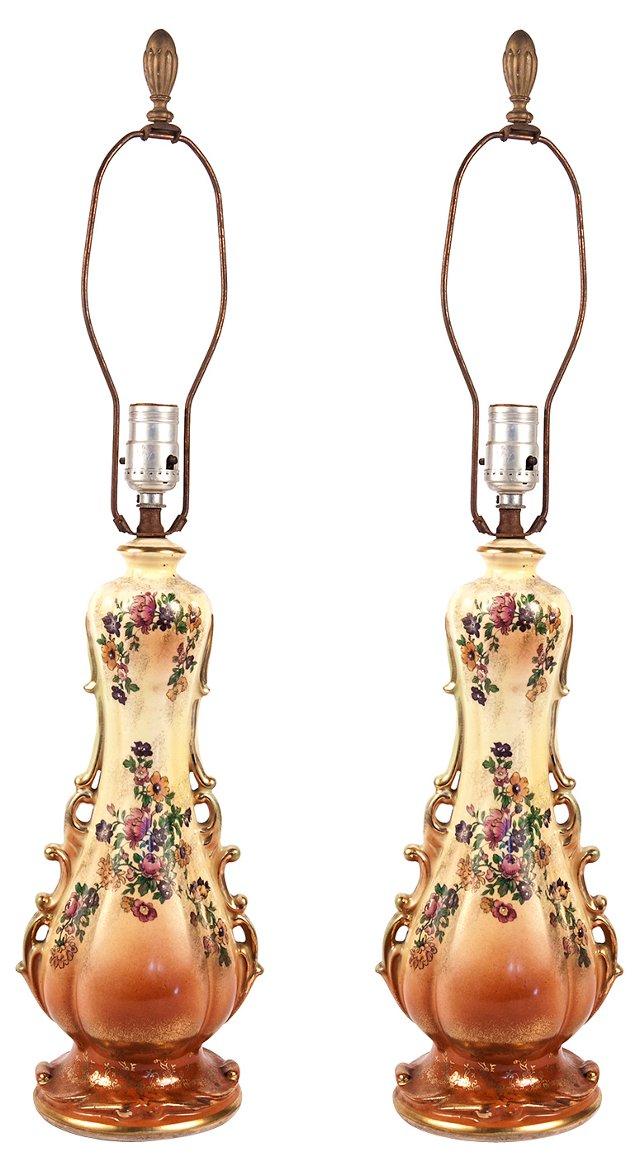 Decoupage Ceramic Lamps, Pair