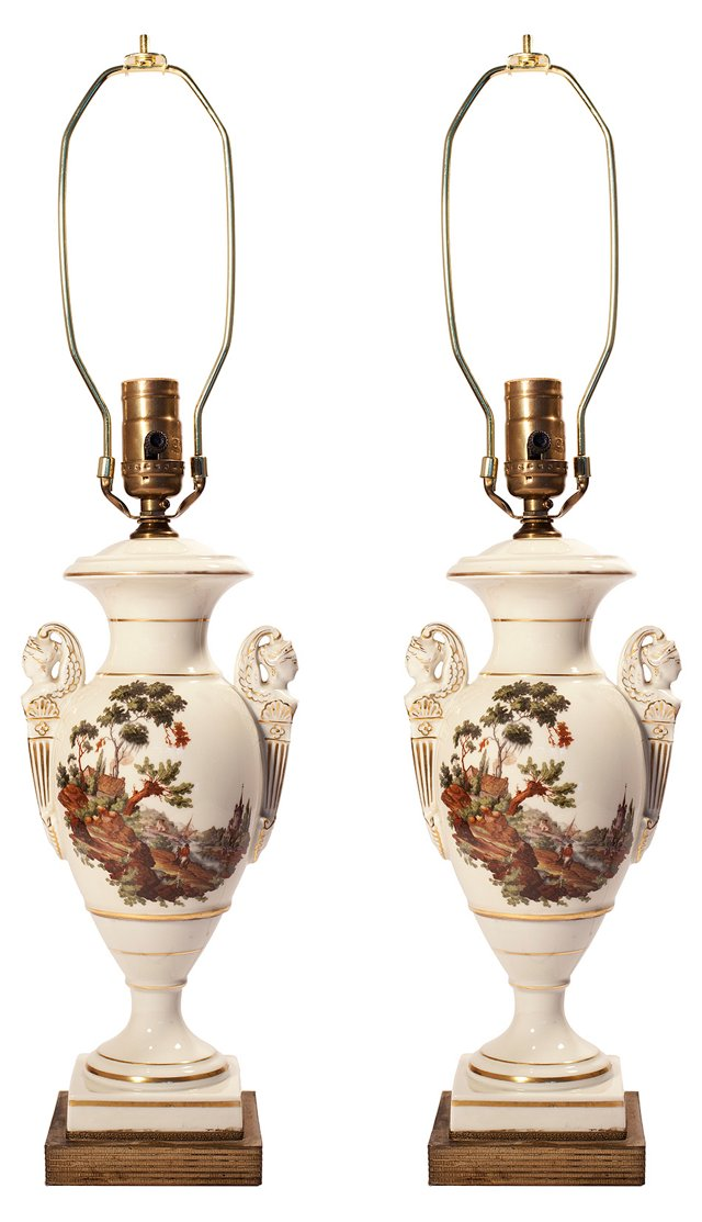 Hand-Painted Urn Lamps, Pair