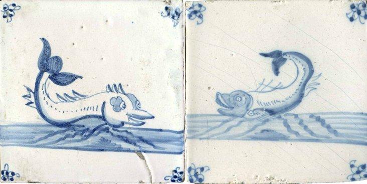 Sea Creature Tiles, C. 1820, Pair