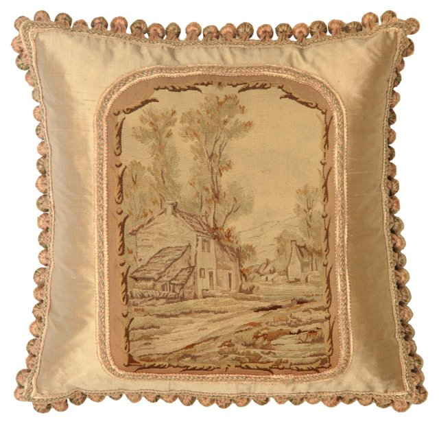 Pillow w/ Antique Aubusson   Tapestry