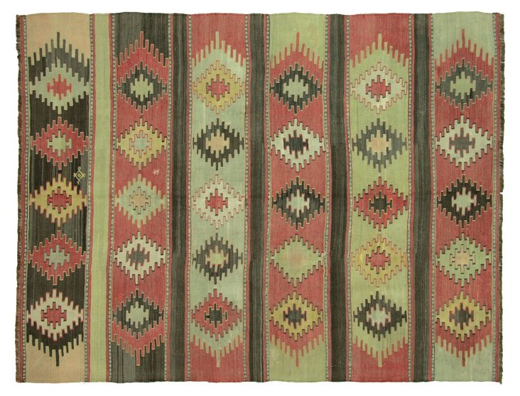 "Anatolian Turkish Kilim, 6'8"" x 5'2"""