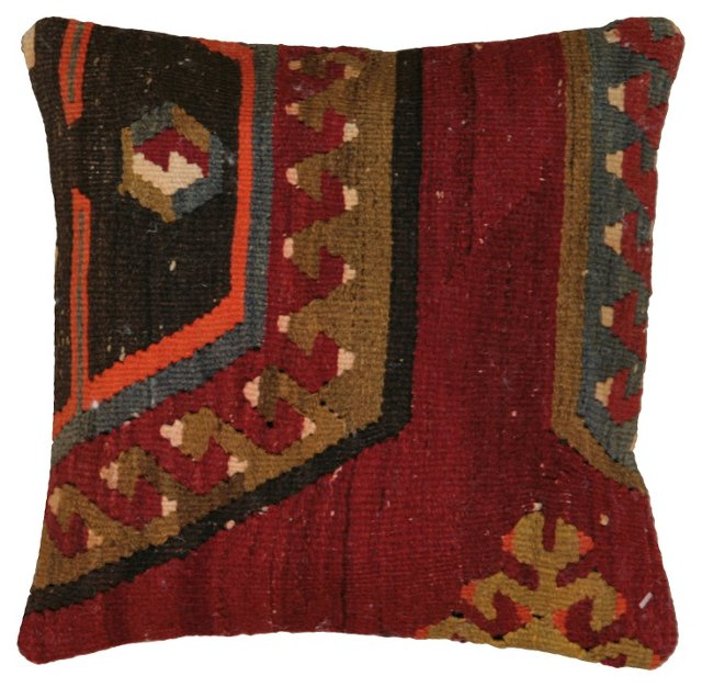 Turkish   Kilim  Pillow w/ Red