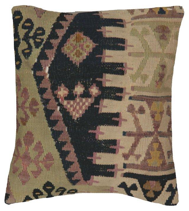 Turkish   Kilim Pillow w/ Black