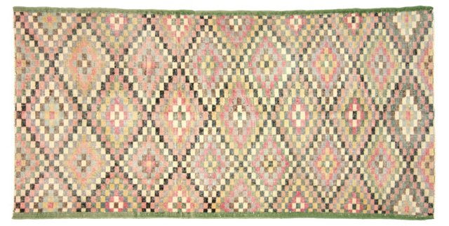 """Art Deco Turkish Rug, 6'11"""" x 3'4"""""""