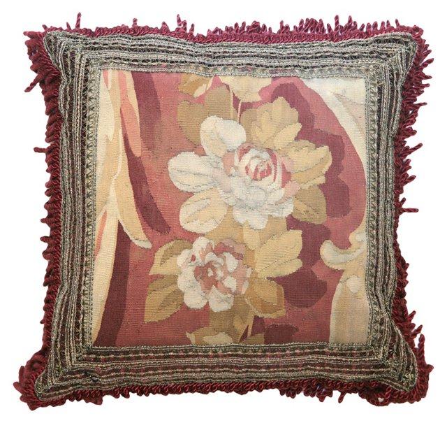 Pillow w/ Floral Antique Aubusson