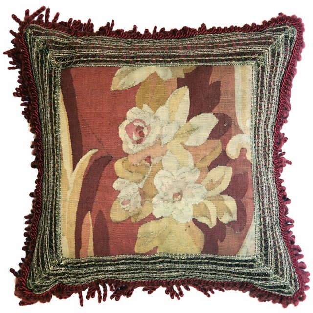 Pillow w/  Floral   Antique Aubusson