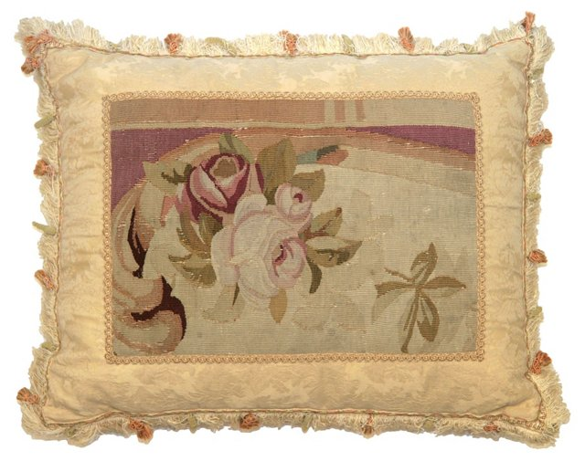 Pillow w/ Antique Rose Aubusson