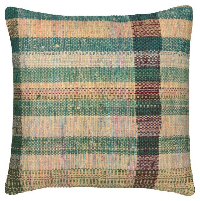 Green-Striped Adana    Rag Rug Pillow