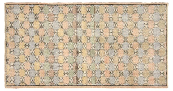 """Art Deco Turkish Rug, 3'7""""  x  6'11"""""""