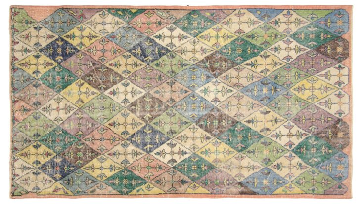 """Art Deco Turkish Rug, 4' x  7'1"""""""