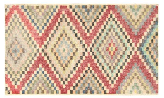 """Art Deco Turkish Rug, 4'3"""" x 7'1"""""""