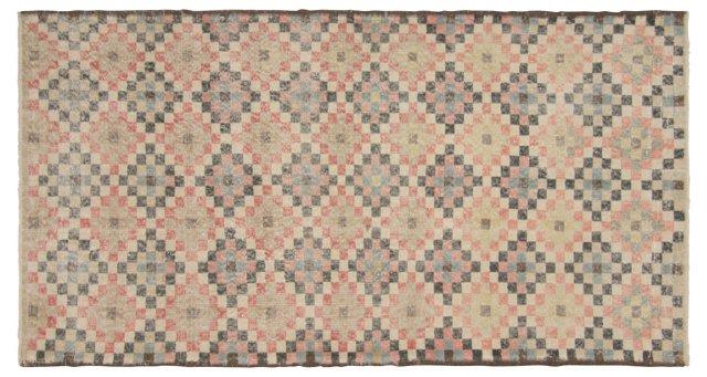 """Art Deco Turkish Rug, 3'10"""" x 7'1"""""""