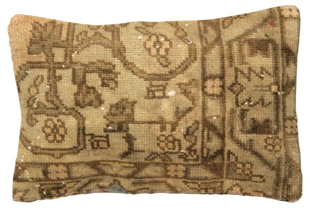 Tan  Oushak Rug Fragment Pillow