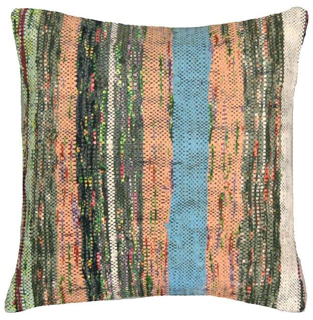 Green-Stripe  Turkish Rag Rug Pillow