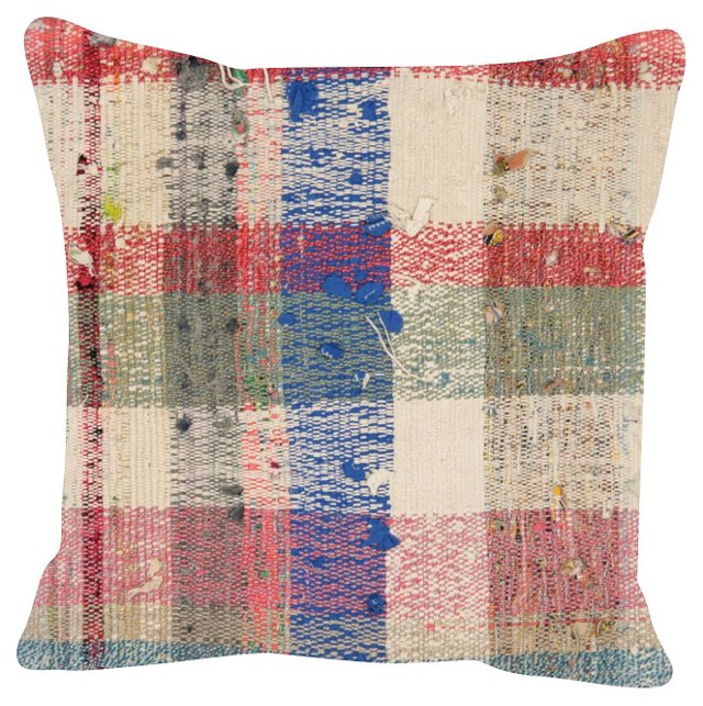 Red & Blue Turkish Rag Rug  Pillow
