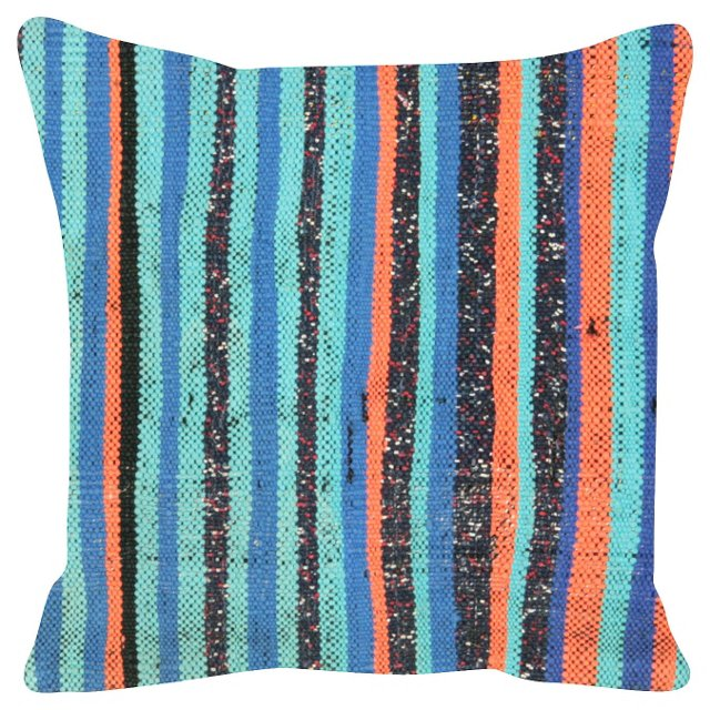 Turkish Rag   Rug Pillow w/ Stripes