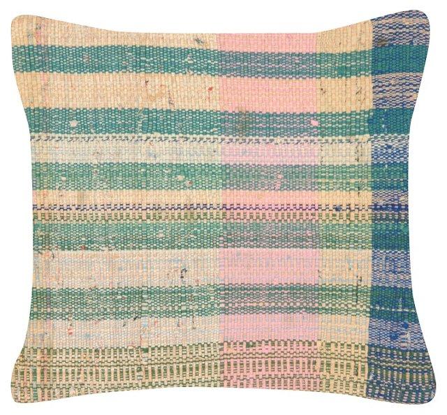 Turkish Rag Rug Pillow w/ Stripes