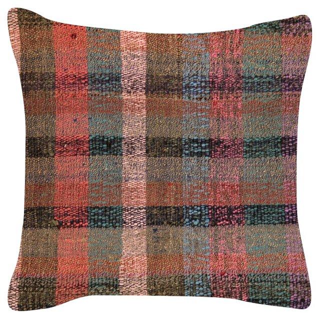 Multi-Stripe     Rag Rug Pillow
