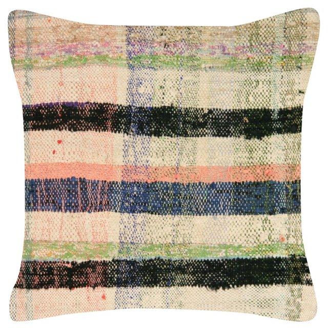 Black-Stripe Turkish Rag-Rug Pillow