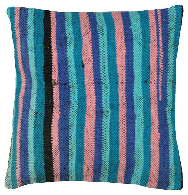 Blue   Turkish Rag Rug Pillow