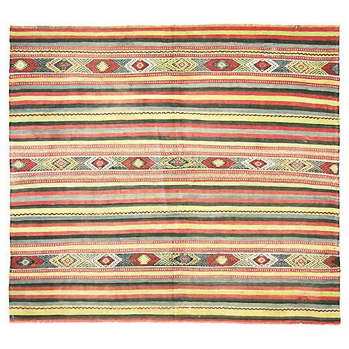 """1950s Striped Turkish Kilim, 4'10""""x 5'5"""""""