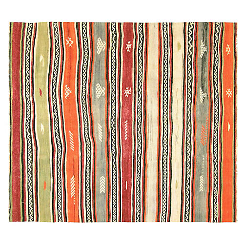 """1950s Turkish Striped Kilim, 5'6"""" x 6'3"""""""