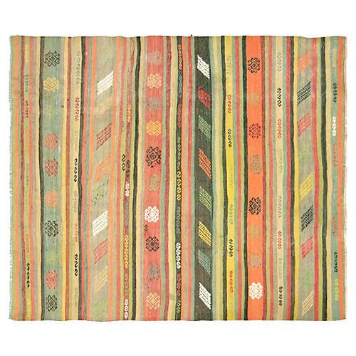 """1950s Turkish Striped Kilim, 5'1"""" x 5'9"""""""