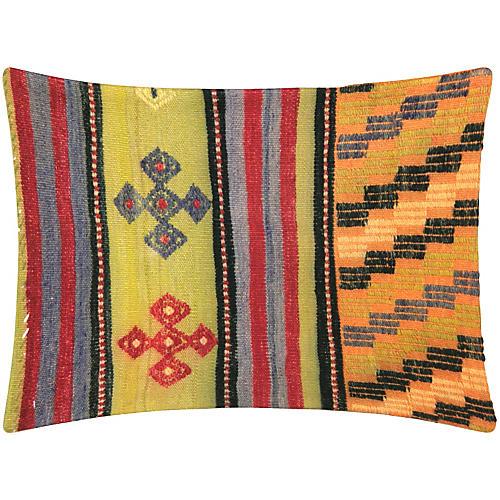 Orange Checkered Turkish Kilim Pillow