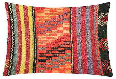 Turkish Kilim Pillow, Tangerine