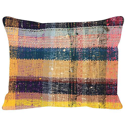 Saffron-Stripe Turkish Rag Rug, Pillow